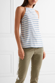 Cami NYC Gemma lace-up striped silk crepe de chine camisole
