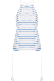 Gemma lace-up striped silk crepe de chine camisole