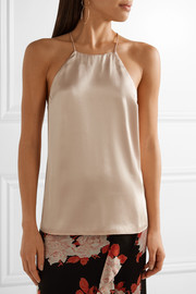Elle lace-trimmed silk-charmeuse camisole