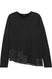 CLU Pleated organza-trimmed cotton-jersey sweatshirt