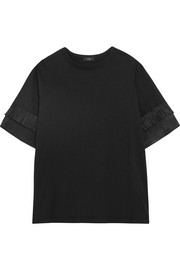 Pleated organza-trimmed silk-jersey T-shirt