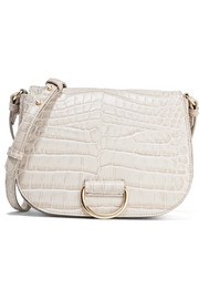 D Saddle medium croc-effect leather shoulder bag