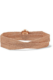 Carolina Bucci Melange woven 18-karat rose gold and silk wrap bracelet