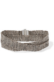Melange woven 18-karat white gold and silk wrap bracelet