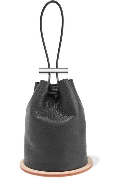 Building Block Disc Textured Leather Bucket Bag
