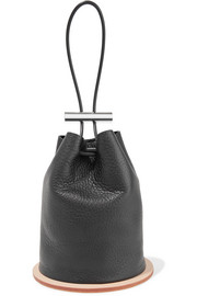 Disc textured-leather bucket bag
