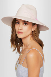 Feather-embellished Toquilla straw Panama hat