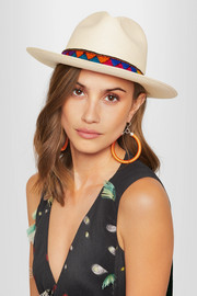 Embroidered toquilla straw Panama hat