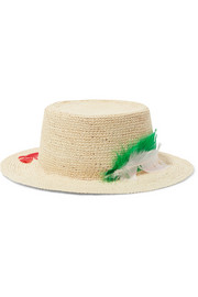 Hippie feather-embellished toquilla straw sunhat