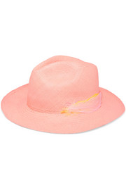 Feather-trimmed Toquilla straw Panama hat