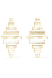 Arme De L'Amour Stripe gold-plated earrings