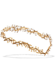 Woodlands gold-plated, Swarovski crystal and faux pearl headband