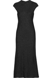 Satin-jacquard midi dress
