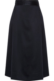 Satin-crepe wrap midi skirt