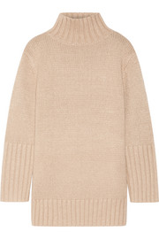 Oversized silk, mohair, wool and cashmere-blend turtleneck sweater