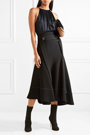 Pleated satin-crepe top