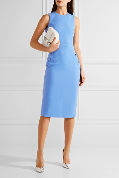 Michael Kors Collection On Detailed Wool Blend Crepe Midi Dress