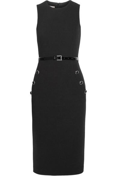 Belted wool-blend crepe dress