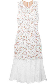 Cotton-blend corded lace midi dress