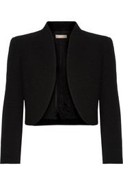 Cropped wool-blend crepe jacket