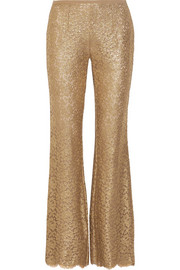 Michael Kors Collection Metallic guipure lace flared pants