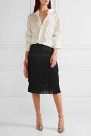 Michael Kors Collection Fringed crepe skirt