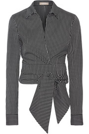 Cropped checked cotton-blend poplin wrap shirt