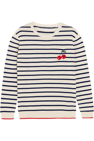 Chinti and Parker - Cherry Breton Striped Cashmere Sweater - Cream