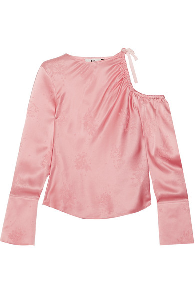 Topshop Unique - Lambeth Cutout Silk-jacquard Blouse - Baby pink