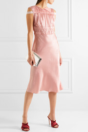 Lambeth ruched silk-jacquard dress