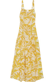 Tropical Leaves printed voile maxi dress