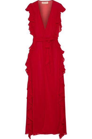 Adriana Degreas - Ruffled Silk-chiffon Coverup - Red