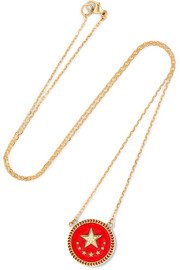 Strength 18-karat gold, diamond and enamel necklace