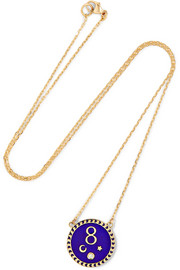 Karma 18-karat gold, diamond and enamel necklace