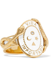 Wholeness 18-karat gold, diamond and enamel ring