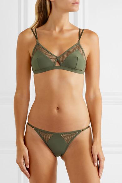 Net Mesh-trimmed Stretch-jersey Soft-cup Triangle Bra - Black Elle Macpherson Top Quality Online 3elsyy