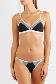Net mesh-trimmed stretch-jersey soft-cup triangle bra