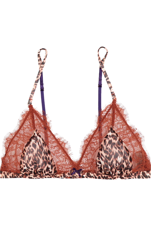 Elle Macpherson Body Wild lace and leopard-print chiffon soft-cup bra