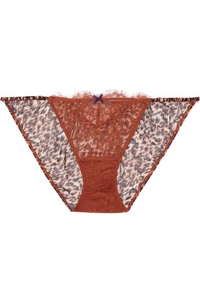 Elle Macpherson Body - Wild Lace And Leopard-print Chiffon Briefs - Leopard print