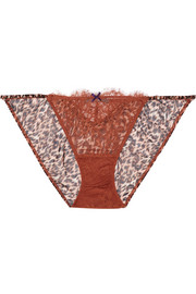 Wild lace and leopard-print chiffon briefs