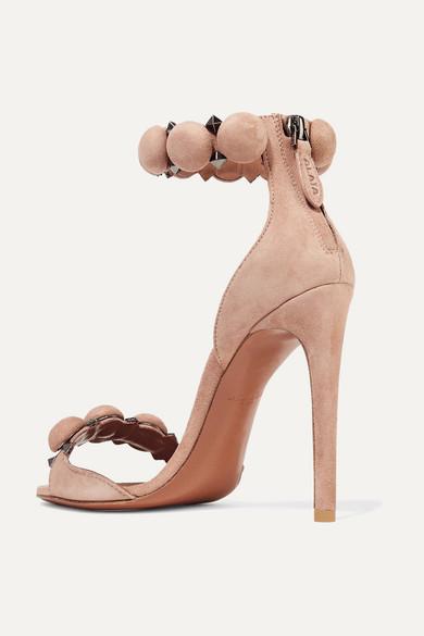 Alaïa Bombe Sandalen aus Veloursleder mit Nieten