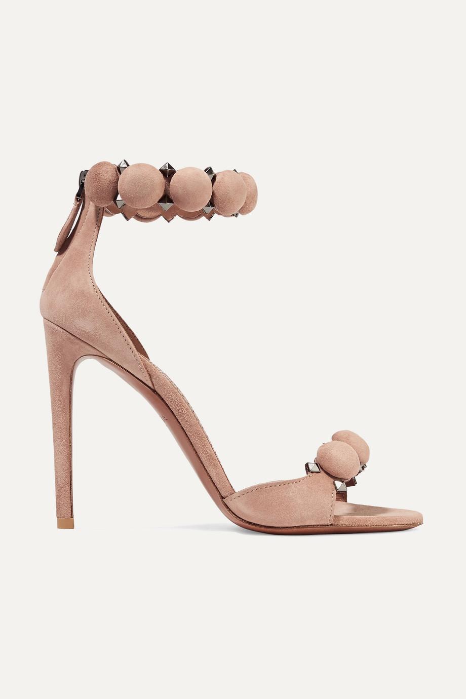 Alaïa Bombe 110 铆钉绒面革凉鞋