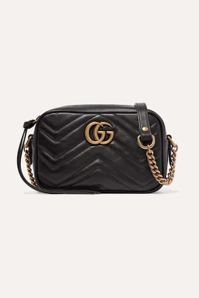 gucci female gucci gg marmont camera mini quilted leather shoulder bag black