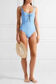+ STAUD Sophia lace-up ribbed swimsuit