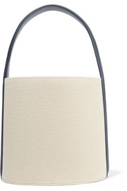 + Staud leather-trimmed cotton-canvas bucket bag
