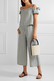 Solid and Striped + Staud leather-trimmed cotton-canvas bucket bag