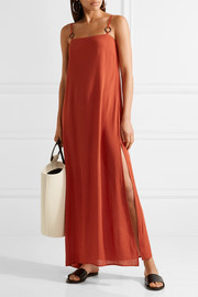 + STAUD Calico crinkled gauze maxi dress
