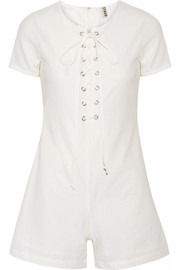 + STAUD Arabella lace-up cotton-seersucker playsuit
