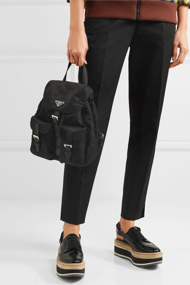 Prada Vela Small Backpack Shell With Leather Trims
