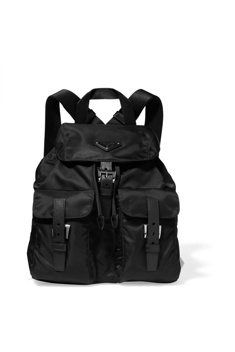 6fb75d689705 Prada Vela small leather-trimmed shell backpack